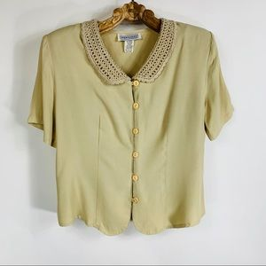 Vtg Beige Crochet Peter Pan Collar Sz 12 Jacket